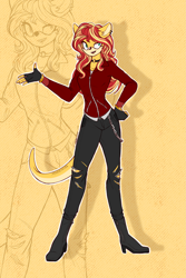 Size: 1999x3001 | Tagged: safe, artist:mysteryart716, part of a set, sunset shimmer, anthro, otter, plantigrade anthro, boots, bracelet, choker, clothes, deviantart watermark, female, fingerless gloves, gloves, jacket, jewelry, leather, leather boots, leather jacket, leather pants, mobian, obtrusive watermark, pants, shoes, solo, sonic the hedgehog (series), sonicified, species swap, watermark, zoom layer