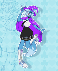 Size: 2205x2719 | Tagged: safe, artist:mysteryart716, part of a set, trixie, anthro, fox, plantigrade anthro, boots, bracelet, cape, choker, clothes, converse, deviantart watermark, female, hat, jewelry, mobian, necktie, obtrusive watermark, one eye closed, open mouth, shoes, skirt, solo, sonic the hedgehog (series), sonicified, species swap, trixie's cape, trixie's hat, watermark, zoom layer