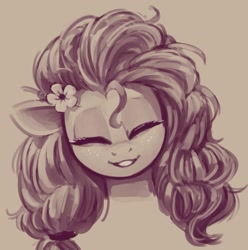Size: 1479x1489 | Tagged: safe, artist:napalm express, pear butter, earth pony, bust, female, flower, flower in hair, mare, monochrome, simple background, smiling, solo