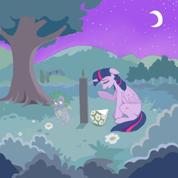 Size: 1500x1500 | Tagged: safe, artist:hjfbjyfgjyt, spike, twilight sparkle, alicorn, dragon, pony, bouquet, crescent moon, crying, female, flower, grave, gravestone, implied death, male, mare, moon, night, night sky, sky, tree, twilight sparkle (alicorn)