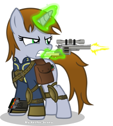 Size: 5015x5589 | Tagged: safe, artist:vector-brony, oc, oc only, oc:littlepip, pony, unicorn, fallout equestria, absurd resolution, bag, clothes, fanfic, fanfic art, female, glowing horn, gritted teeth, gun, handgun, hooves, horn, levitation, little macintosh, magic, mare, optical sight, pipbuck, revolver, saddle bag, scope, shooting, simple background, solo, telekinesis, transparent background, vault suit, weapon