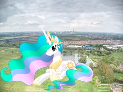 Size: 1024x768 | Tagged: safe, artist:mirrorcrescent, artist:princesslunayay, princess celestia, alicorn, pony, britain, crown, england, female, giant alicorn, giant ponies in real life, giant pony, giantess, giantlestia, grass, hoof shoes, irl, jewelry, lying down, macro, mare, mega celestia, necklace, park, photo, ponies in real life, regalia, relaxing, smiling, solo, tree, united kingdom