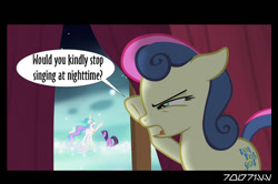 Size: 640x426 | Tagged: safe, edit, edited screencap, editor:teren rogriss, screencap, bon bon, princess celestia, sweetie drops, twilight sparkle, alicorn, earth pony, pony, unicorn, magical mystery cure, slice of life (episode), bon bon is not amused, unamused