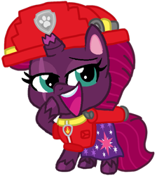 Size: 949x1058 | Tagged: safe, artist:徐詩珮, fizzlepop berrytwist, tempest shadow, pony, unicorn, series:sprglitemplight diary, series:sprglitemplight life jacket days, series:springshadowdrops diary, series:springshadowdrops life jacket days, my little pony: pony life, broken horn, clothes, horn, marshall (paw patrol), paw patrol, simple background, transparent background