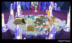 Size: 1288x778 | Tagged: safe, edit, edited screencap, editor:teren rogriss, screencap, boneless, flash sentry, mr. turnip, rainbow dash, sci-twi, spike, sunset shimmer, twilight sparkle, alicorn, dragon, pegasus, pony, unicorn, equestria girls, equestria girls series, spring breakdown, spoiler:eqg series (season 2), alicorn amulet, book, bucket, candle, chest, crown, crown of grover, dice, double twilight, equestria girls ponified, friendship throne, glowpaz, jewelry, lantern, levitation, magic, magic aura, ponified, quill, radish, regalia, scroll, staff, staff of sameness, telekinesis, throne, throne room, twilight sparkle (alicorn), twilight's castle, twolight, unicorn sci-twi