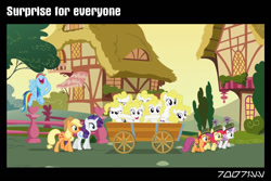 Size: 1288x858 | Tagged: safe, edit, edited screencap, editor:teren rogriss, screencap, apple bloom, applejack, rainbow dash, rarity, scootaloo, surprise, sweetie belle, earth pony, pegasus, pony, unicorn, 28 pranks later, cart, clones, cutie mark crusaders, female, filly, mare, multeity, ponyville