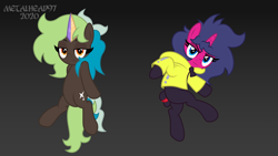 Size: 8000x4500 | Tagged: safe, oc, oc only, oc:bright side, oc:fizzy pop, unicorn, clothes, commission, female, females only, hoodie, horn, lidded eyes, looking at you, mare, my little pony, outfit, pose, posing for photo, show accurate, simple background, unicorn oc