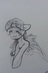 Size: 354x540 | Tagged: safe, artist:kiwwsplash, oc, oc only, pegasus, pony, bust, grin, pegasus oc, signature, smiling, solo, traditional art, wings
