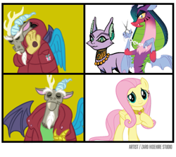 Size: 631x560 | Tagged: safe, artist:zarohidehire, idw, baast, cosmos (character), discord, fluttershy, cat, draconequus, pegasus, pony
