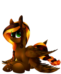 Size: 2229x2691 | Tagged: safe, artist:intfighter, oc, oc only, pegasus, pony, braid, braided tail, pegasus oc, prone, simple background, solo, white background, wings
