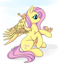Size: 1584x1984 | Tagged: safe, artist:intfighter, fluttershy, bird, pegasus, pony, cute, female, mare, perching, sitting, smiling, spread wings, wings