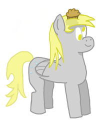 Size: 8000x9000 | Tagged: safe, artist:switcharoo, derpy hooves, pegasus, pony, folded wings, food, happy, high res, muffin, wings