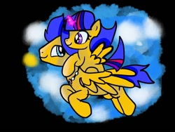 Size: 1080x810   Tagged: safe, artist:bellas.den, flash sentry, oc, alicorn, pony, alicorn oc, black background, duo, female, filly, flying, horn, jewelry, male, necklace, offspring, parent:flash sentry, parent:twilight sparkle, parents:flashlight, ponies riding ponies, riding, simple background, stallion, wings