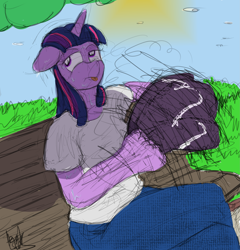 Size: 2605x2709 | Tagged: safe, artist:fetishsketches, twilight sparkle, anthro, clothes, doodle, female, flip flops, jeans, pants, solo, solo female, sweat, tongue out