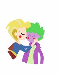 Size: 2448x3264 | Tagged: safe, spike, blushing, hand on cheek, hug, kiss on the cheek, kissing, shipping, spikegirl, spikexsupergirl, supergirl, superspike