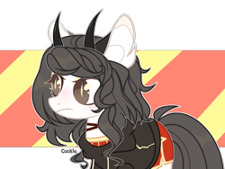 Size: 2688x2016 | Tagged: safe, artist:lazuli, oc, oc only, demon, demon pony, original species, pony, clothes, ear fluff, female, frown, horns, mare, simple background, solo, transparent background