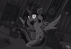 Size: 4093x2810 | Tagged: safe, artist:amy-gamy, twilight sparkle, alicorn, pony, grayscale, monochrome, panicking, shrunken pupils, solo, twilight sparkle (alicorn)