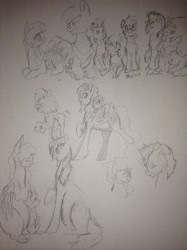 Size: 1936x2592 | Tagged: safe, artist:sonicsketcher64, big macintosh, fluttershy, rainbow dash, oc, oc:angel, oc:cinnamon bun, oc:diamond dazzle, oc:rainbow tundra, oc:strong oak, oc:thorn tanzanite, dracony, earth pony, hybrid, pegasus, pony, unicorn, baby, colt, family, father and child, father and daughter, father and son, female, filly, fluttermac, interspecies offspring, looking at each other, male, mare, mother and child, mother and daughter, mother and son, oc x oc, offspring, parent:big macintosh, parent:cheese sandwich, parent:fluttershy, parent:pinkie pie, parent:rainbow dash, parent:rarity, parent:soarin', parent:spike, parents:cheesepie, parents:fluttermac, parents:soarindash, parents:sparity, ponies riding ponies, pregnant, riding, shipping, sketch, stallion, straight, traditional art, twins