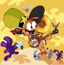Size: 1024x1041 | Tagged: safe, artist:tierraverde, alien, parasprite, accordion, banjo, crossover, cute, cymbals, harmonica, musical instrument, one man band, parasprite polka, solo, tambourine, tuba, wander (wander over yonder), wander over yonder