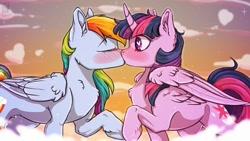 Size: 1280x720 | Tagged: safe, artist:wonderblue, rainbow dash, twilight sparkle, alicorn, pegasus, pony, blushing, female, heart eyes, kissing, lesbian, mare, shipping, twidash, twilight sparkle (alicorn), wingding eyes