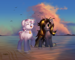 Size: 3179x2530 | Tagged: safe, artist:klooda, oc, oc:knick knack, oc:whiskey lullaby, bird, earth pony, pony, unicorn, beach, cloud, collar, colt, commission, couple, cute, detailed, detailed background, eyes closed, female, full body, happy, hoof fluff, horn, kniskey, long horn, male, mare, ocean, one hoof raised, open mouth, raised hoof, reflection, sand, seaside, shore, sky, smiley face, smiling, stallion, sunset, water, ych result