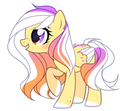 Size: 2476x2260   Tagged: safe, artist:lazuli, oc, oc only, pegasus, pony, colored hooves, eyelashes, grin, multicolored eyes, pegasus oc, raised hoof, simple background, smiling, transparent background, two toned wings, wings