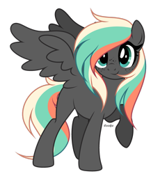Size: 2283x2627   Tagged: safe, artist:lazuli, oc, oc only, pegasus, pony, freckles, pegasus oc, raised hoof, simple background, smiling, solo, transparent background, wings