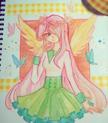 Size: 960x1089 | Tagged: safe, artist:shimelody, fluttershy, butterfly, human, female, hair over one eye, humanized, traditional art, winged humanization, wings