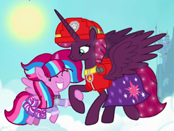 Size: 1440x1080 | Tagged: safe, artist:徐詩珮, fizzlepop berrytwist, tempest shadow, oc, oc:bubble sparkle, alicorn, bubbleverse, series:sprglitemplight diary, series:sprglitemplight life jacket days, series:springshadowdrops diary, series:springshadowdrops life jacket days, alicornified, alternate universe, base used, clothes, female, magical lesbian spawn, magical threesome spawn, marshall (paw patrol), mother and child, mother and daughter, multiple parents, next generation, offspring, older, older tempest shadow, parent:glitter drops, parent:spring rain, parent:tempest shadow, parent:twilight sparkle, parents:glittershadow, parents:sprglitemplight, parents:springdrops, parents:springshadow, parents:springshadowdrops, paw patrol, race swap, teenager, tempesticorn