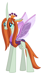 Size: 1024x1756 | Tagged: safe, artist:emeraldblast63, queen chrysalis, changedling, changeling, female, purified chrysalis, reformed, simple background, smiling, solo, spread wings, transparent background, vector, wings