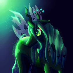 Size: 1080x1080 | Tagged: safe, alternate version, artist:clausfiredraws, queen chrysalis, changeling, changeling queen, abstract background, bust, female