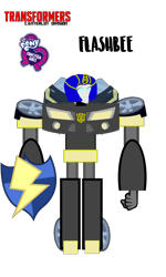 Size: 720x1199 | Tagged: safe, artist:electrahybrida, derpibooru exclusive, flash sentry, oc, oc:flashbee, robot, a health of information, equestria girls, equestria girls series, autobot, crossover, flash sentry's car, transformers, transformers canterlot division