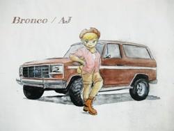Size: 2048x1536 | Tagged: safe, artist:sakakurabbit, applejack, equestria girls, applejack's hat, car, clothes, cowboy hat, ford, ford bronco, hat, solo, suv, traditional art, vehicle