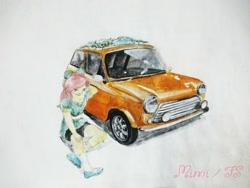 Size: 2048x1536 | Tagged: safe, artist:sakakurabbit, fluttershy, equestria girls, car, mini cooper, sitting, solo, traditional art, vehicle