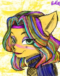 Size: 1080x1351 | Tagged: safe, artist:bellas.den, oc, oc only, earth pony, pony, abstract background, bedroom eyes, blushing, bust, earth pony oc, fishnets, lipstick, multicolored hair, rainbow hair, signature, solo
