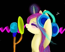 Size: 1080x861 | Tagged: safe, artist:bellas.den, pony, unicorn, black background, bust, eyes closed, glowing horn, headphones, horn, makeup, microphone, signature, simple background, solo