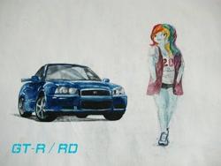 Size: 2048x1536 | Tagged: safe, artist:sakakurabbit, rainbow dash, equestria girls, car, clothes, hands in pockets, nissan, nissan gt-r, shorts, solo, traditional art, vehicle