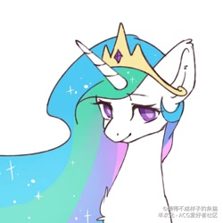 Size: 1080x1080 | Tagged: safe, artist:小huhu狸君呀, princess celestia, alicorn, pony, bust, colored pupils, crown, cute, cutelestia, jewelry, looking at you, portrait, regalia, simple background, smiling, smiling at you, solo, white background