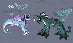 Size: 1280x756 | Tagged: safe, artist:drxii, oc, oc only, oc:scallop, pony, sea pony, siren, digital art, horn, looking at each other, simple background