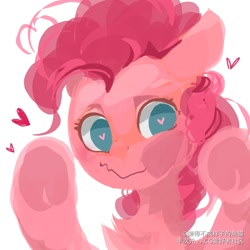 Size: 1080x1080 | Tagged: safe, artist:小huhu狸君呀, pinkie pie, earth pony, pony, against glass, bust, cheek squish, chest fluff, cute, diapinkes, female, floating heart, glass, heart, heart eyes, looking at you, mare, no pupils, portrait, simple background, solo, squishy cheeks, white background, wingding eyes