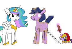 Size: 3300x2250 | Tagged: safe, artist:tjpones, princess celestia, twilight sparkle, alicorn, pony, unicorn, armor, centurion, duo, female, filly, levitation, magic, mare, simple background, squatpony, telekinesis, trojan horse, twiggie, twiggy, white background, wooden sword