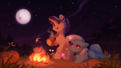 Size: 2809x1580 | Tagged: safe, artist:_floweryoutoday, starlight glimmer, trixie, pony, unicorn, campfire, camping, chest fluff, commission, cup, cute, diatrixes, duo, ear fluff, female, field, fire, floppy ears, fluffy, food, glimmerbetes, grass, grass field, hoof on chin, levitation, log, looking at you, magic, mare, marshmallow, moon, mountain, night, open mouth, resting, s'mores, sitting, sky, speedpaint available, stars, telekinesis