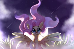 Size: 1968x1296 | Tagged: safe, artist:qehvi, fluttershy, pegasus, pony, cute, female, field, grass, grass field, looking up, mare, moon, night, raised hoof, shooting star, shooting stars, shyabetes, sitting, sky, smiling, solo, spread wings, stars, windswept mane, wings
