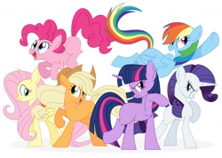 Size: 1435x1024 | Tagged: safe, artist:qehvi, applejack, fluttershy, pinkie pie, rainbow dash, rarity, twilight sparkle, earth pony, pegasus, pony, unicorn, cute, female, grin, jumping, looking up, mane six, mare, missing cutie mark, open mouth, raised hoof, simple background, smiling, unicorn twilight, white background