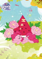 Size: 1080x1527 | Tagged: safe, pinkie pie, earth pony, pony, chinese, cute, flower, food, liqiu, my little pony logo, official, sleeping, solar term, solo, watermelon