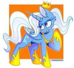 Size: 1024x937 | Tagged: safe, artist:wutanimations, trixie, alicorn, pony, abstract background, alicornified, crown, ear fluff, eyeshadow, female, floating crown, jewelry, makeup, mare, race swap, raised hoof, regalia, simple background, solo, trixiecorn