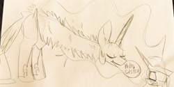 Size: 2048x1024 | Tagged: safe, artist:wutanimations, princess celestia, princess luna, alicorn, pony, dialogue, duo, ear fluff, eyes closed, female, grayscale, jewelry, long neck, mare, monochrome, princess necklestia, simple background, sketch, speech bubble, traditional art, white background