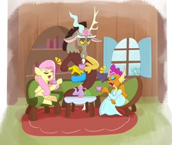 Size: 2310x1947 | Tagged: safe, artist:another_pony, discord, fluttershy, gallus, smolder, draconequus, dragon, griffon, pegasus, pony, what lies beneath, clothes, cup, discord is not amused, dragoness, dress, eyes closed, eyeshadow, female, floppy ears, jewelry, makeup, male, mare, open mouth, princess smolder, regalia, sitting, tea party, teacup, tiara, unamused