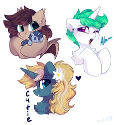 Size: 2200x2400 | Tagged: safe, artist:mirtash, oc, oc only, bat pony, pony, unicorn, bust, plushie, yawn
