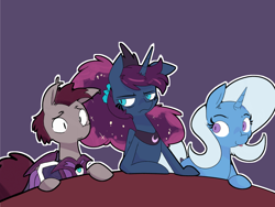 Size: 4000x3000 | Tagged: safe, artist:kurib0n, princess luna, trixie, oc, oc:kevin the nightguard, alicorn, bat pony, pony, unicorn, luna-afterdark, bat pony oc, bat wings, female, male, mare, night guard, stallion, table, tongue out, wings
